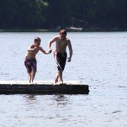 Summer fun jumping off the dock